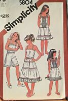 Simplicity Sewing Pattern 5804 Girls Camisole Slip Culotte Size 8 Uncut 1980's