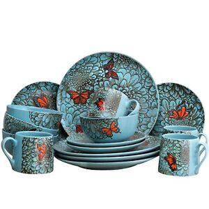 ELAMA's BUTTERFLY GARDEN 16 PIECE STONEWARE DISH DINNERWARE SET SERVICE for 4