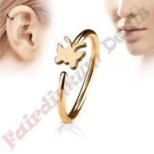 316 Surgical Steel Rose Gold Ion Plated Nose & Ear Cartilage Ring with Butterfly