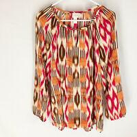 CHICO'S Blouse Top SIZE 2 Semi Sheer Long Sleeve Pink Orange Keyhole Neck