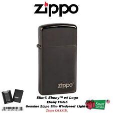 Zippo Slim Ebony with Logo Lighter, High Polish Black, Windproof #28123ZL