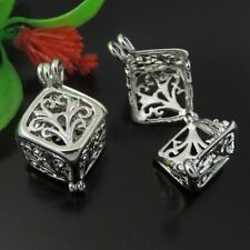 39588 White Gold Brass Hollow 3D Cube Pendant Lockets 25*13*13mm Charms 6pcs