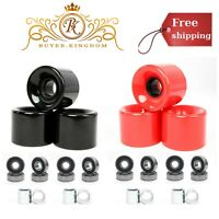 Set Of 4 Skateboard Wheels 58mm With ABEC-7 High Steel Bearings And Spacers New