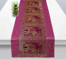Rajasthani Hand Art Work Elephant Design Silk Table Runner & Tablecloth