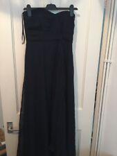 Coast Size 10 Navy Blue Taffeta Full Length Strapless Dress