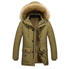 Mens Trench Coat Fur Hooded Winter Warm Parka Outdoor Jacket Overcoat Outwear