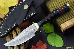 Custom Damascus Steel Hunting Knife Handmade With Impala Horn Handle (Y707-B)