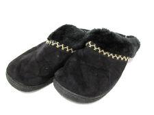 SMARTZONE ISOTONER Women's Black Faux Fur Trim Slippers Size S (7.5-8) - EUC