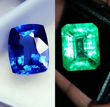 Natural Loose Gemstone 8 to 10 cts Emerald & Blue Sapphire Mixed Certified Pair