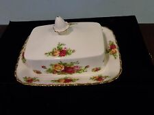 Royal Albert Old Country Roses Covered Butter Dish - RARE!