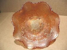LOVELY c.1920s FENTON CARNIVAL GLASS TWO FLOWERS FOOTED MARIGOLD BOWL