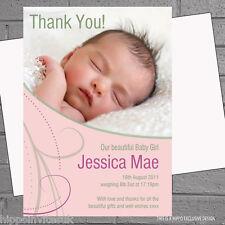 Personalizado Pinky Remolinos Niña Bebé Anuncio de Nacimiento X 12 tarjetas de agradecimiento
