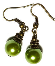 Green Pearl Earrings Antique Bronze Style Pierced Hook Bead Dangle Boho Hippy