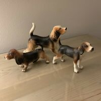Lot Of 3 Vintage Dog Figurines Japan Basset Hound Walker Hounds