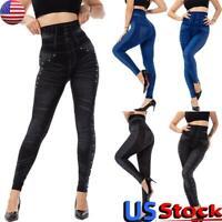 US Women Skinny High Waist Long Pants Legging Ladies Stretch Slim Beads Trousers