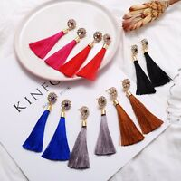 Fashion Women's Boho Rhinestone Ear Stud Dangle Drop Long Fringe Tassel Earrings