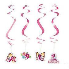 (12) 1st FIRST BIRTHDAY BUTTERFLY HANGING SWIRLS Girls Hangings Swirls