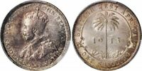 1913 Silver Coin British West Africa One Shilling Crowned King George PCGS MS62