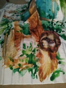 HAPPY Sloth Shower Curtain Kids Collection Animal Print for Bathroom & FREE SHIP