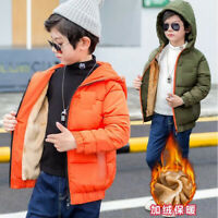 New Kids Child Winter Warm Cotton Hooded Jacket Boys Fleece Coat Parka Outerwear