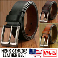 Men's Genuine Cowhide Leather Classic Metal Buckle Jean Belt