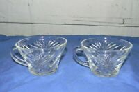 Vintage Starburst Style Punch Bowl Replacement Cups Clear Glass Lot of 2
