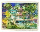 "Emil Donato Watercolor Painting Vtg Forest Creek Stream Bridge 29"" x 22"" 1981"