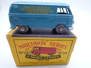 VINTAGE MOKO LESNEY No.34a VOLKSWAGEN SPLIT SCREEN VAN BUS IN ORIGINAL BOX 1957