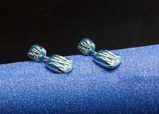 ART DECO FIRE BLUE ENAMEL STUD DANGLE EARRINGS