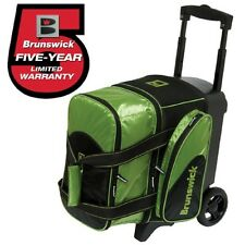 """Brunswick Flash 1 Ball Roller Bowling Bag w Wheels Lime Green Handle Extends 39"""""""