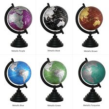 "Metallic Globe Rotating World Earth Map 5"" Inch Decorative Home Office Decor"