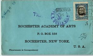Costa Rica Postal History: LOT #4 1911 10c Single Franking ALAJUELA - ROCHESTER