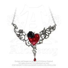 Alchemy Gothic Blood Rose Heart Pendant Red Swarovski Crystals Dark Romance