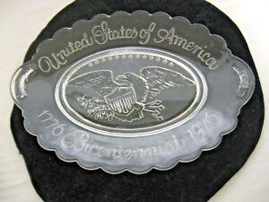 1776-1976 Avon Clear Bicentennial U S of America Plate Bread Tray-Raised Eagle