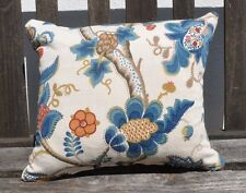 """NEW 12 x 14"""" reversible zipped cotton cushion Sanderson Audley cream, blue, red"""
