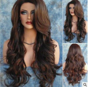 Women Elegant Synthetic Wavy Long Wigs Smooth Natural Solid Color Hair