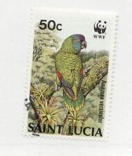 SAINT LUCIA Scott #904 Θ used postage stamp, WWF bird Amazona versicolor