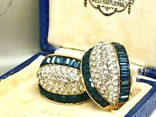 Beautiful Vintage Attwood & Sawyer Blue /White Clip on Swarovski Earrings signed