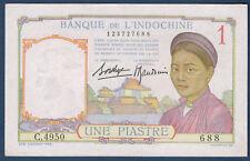 BILLET DE BANQUE D'INDOCHINE.UNE PIASTRE Pick n°54.b de 1932/1939 SUP C.4950 688