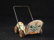 Ancien jouet landau poussette miniature tôle pour poupée 50 style penny toy