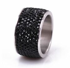 8-Row Micro Pave Black Hematite Crystal Eternity Stainless Steel Ring Size 9.5