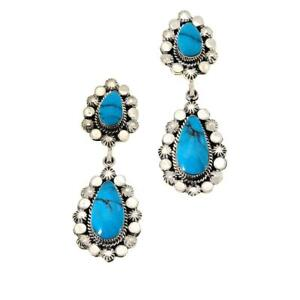 Exclusive! Chaco Canyon Sterling Silver Kingman Turquoise Drop Earrings