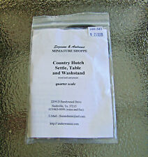 """Miniature QUARTER 1:48 Scale """"CountryHUTCH SETTLE TABLE WASHSTAND Kit"""" - Suzanne"""