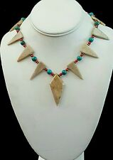 Necklace Fossil Coral Arrowheads w/ Turquoise & Coral 925 Silver Handcrafted USA