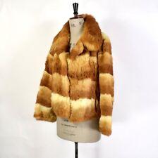 Femme Vintage 80 S Toffee Crème réel lapin fourrure de lapin Brillant Parti coat UK M