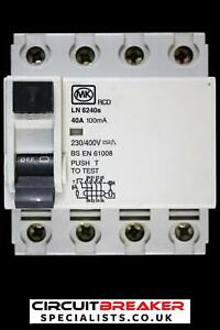 MK 40 AMP 100 mA FOUR POLE RCD TYPE AC LN 6240s