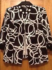 DANA KAY SIZE 14 Black Print Jacket WITH 3/4 SLEEVES