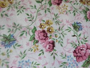 Pink Roses Blue Yellow Flowers Quilting Fabric 50cm piece