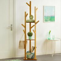 Bamboo Tree Garment Clothes Coat Hat Umbrella Portable Hanger Stand Rack