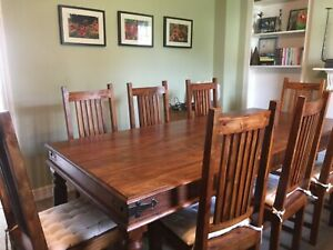 Sheesham wood dining table and 8 chairs